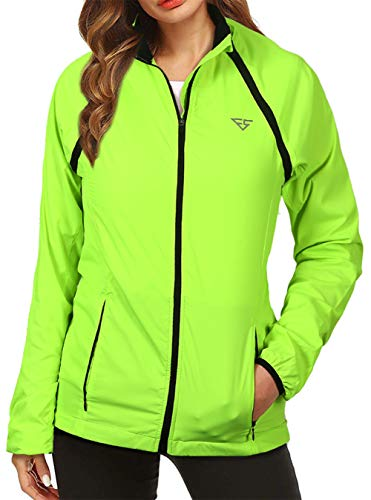 Women's Cycling Jacket Convertible Running Windbreaker with Zip Off Sleeves Water Resistant Reflective Outerwear Size L Fluorescent Yellow