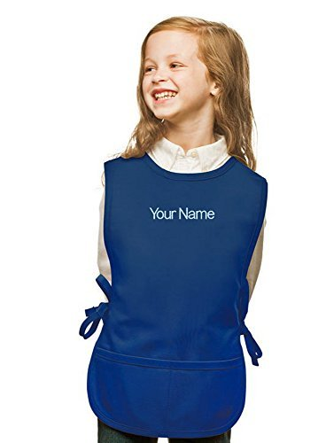 Personalized Royal Blue Kids Art Smock, Cobbler Apron, Poly/Cotton Twill Fabric (Extra Large) by My Little Doc