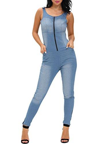 [Sidefeel Women Denim Stretch Zipper Jumpsuit Medium Light Blue] (Stretch Jumpsuit)
