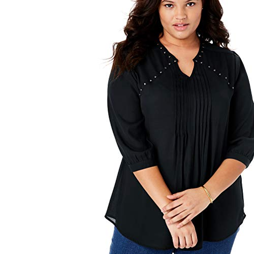 (Woman Within Women's Plus Size Studded Pintucked Blouse - Black, 14/16)
