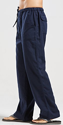 utcoco Qiuse Men's Casual Loose Fit Straight-Legs Stretchy Waist Beach Pants (XX-Large, Navy) by utcoco (Image #2)