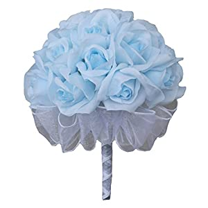 Light Blue Silk Rose Hand Tie (2 Dozen Silk Roses) - Bridal Wedding Bouquet 67