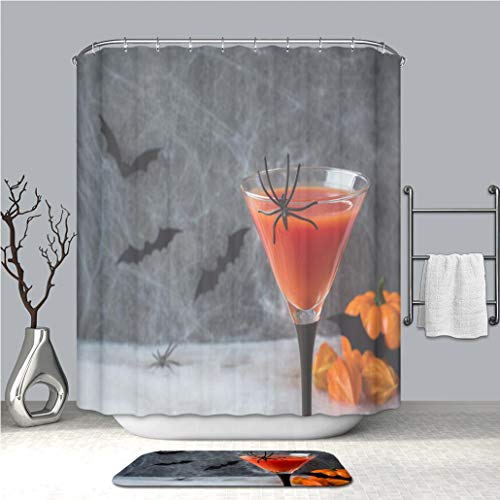 BEICICI Creative Shower Curtain and Bath mat Rug Bloody Mary Cocktail Pumpkin with Bats and Spiders for Halloween Selective Focus Custom Stylish,Waterproof,Mildew Proof Bathroom -