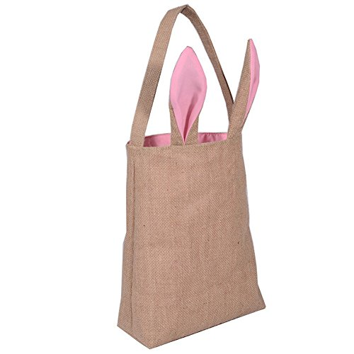 Newest trent Easter Bunny Bag Easter Basket Tote Handbag,Dual Layer Bunny Ears Design Jute Cloth Material, Reusable and Lightweight Party Favors Bags for Carrying Eggs Gifts to Easter Party -