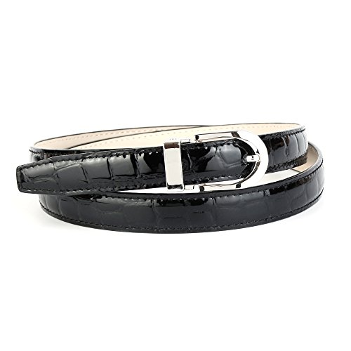 "Anthoni Crown Leather Ladies Belt 0,8"" Width Black Croco Design with Silver Metallic Buckle 34""-44""/134a (36)"