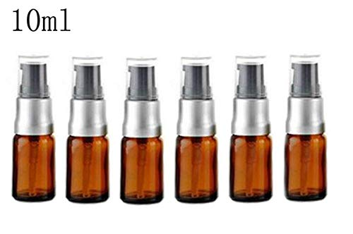 llable Amber Glass Lotion Pump Press Bottles Jars Vial Makeup Face Cream Facial Cleanser Toiletries Toner Liquid Travel Containers Emulsion Essential Oil Dispenser ()