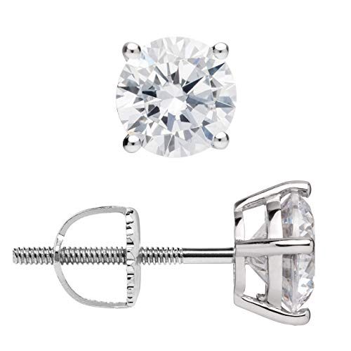 14K Solid White Gold Stud Earrings | Round Cut Cubic Zirconia | Screw Back Posts | 1.5 CTW | With Gift Box (Stud Screw Gold 14k)