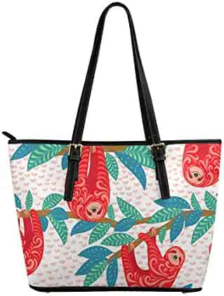 InterestPrint Tote Bags Zippered Tote for Women Overnight HandBags Christmas Red Pattern With Gold and White Snowflakes