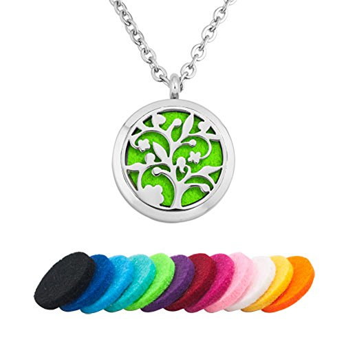 ShinyJewelry Aromatherapy Essential Oil Diffuser Necklace Family Tree Round Locket Pendant With 12 Color Refill Pads ()