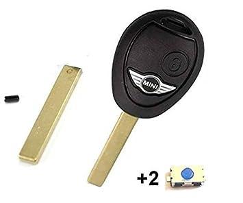 Cle-Auto - Carcasa para llave con mando a distancia para Mini Cooper S, D, One y Clubman, con 2 botones y sin logotipo