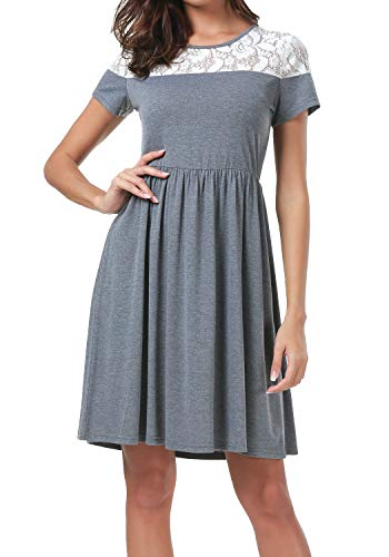Womens Summer Casual Loose Swing Pleated Knit T-Shirt Tunic Dress Dark Gray M