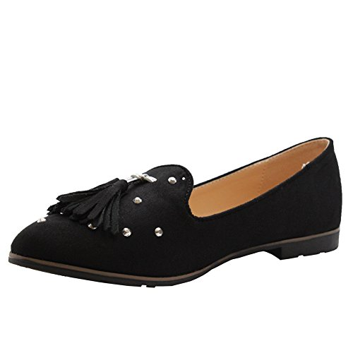 SAUTE STYLES Womens Flats Slip on Fringe Studded Loafers Ballerinas Pumps Shoes Size 3-8 Black KoUdAJ