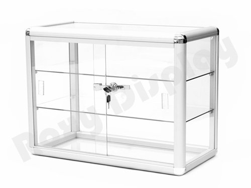 Countertop Showcase - (SC-KDTOP) COUNTER TOP GLASS CASE, Standard Aluminum Framing With Sliding Glass Door And Lock