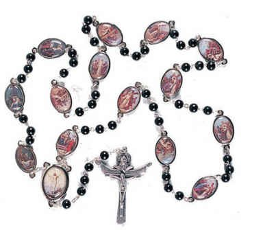 Stations of the Cross Rosary Chaplet Black Wood Beads Imported From Italy Beautiful Large 24