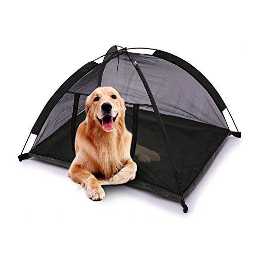 Pettom Dog Cat Camping Tents, Pet Travel Bed, Pop Up Beach Tent, Portable &Waterproof Outdoor Camp, Easy Set up and Take down (Black) Review