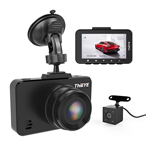 ThiEYE Dash Cam 1080P Full HD Car DVR Dashboard Camera Recorder with Super Wide Angle, WDR, Loop Recording, Parking Monitor, G-Sensor and Clear Night Vision (Front and Rear Dashcam)