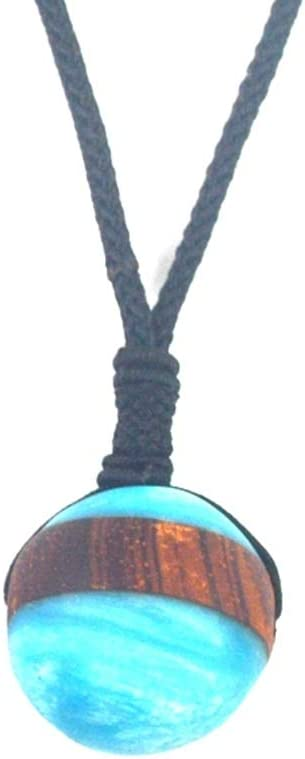 New Fashion Resin Wood Jewelry Gift for Men and Women 2.9CM Star Jewelry Metal Color: ES19004131 Davitu Leanzni Blue Sky Planet Necklace Pendant