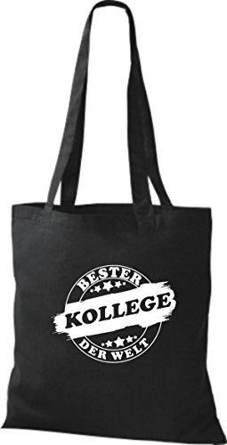 ShirtInStyle Bolso de tela Bolsa de algodón Bester COLEGA der Welt Negro