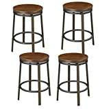 O&K Furniture 24-Inch Backless Swivel Bar Stool, Industrial Kitchen Counter Height Stool Chairs with Wooden Seat-Pub Height, Dark Brown, Set of 4 Review