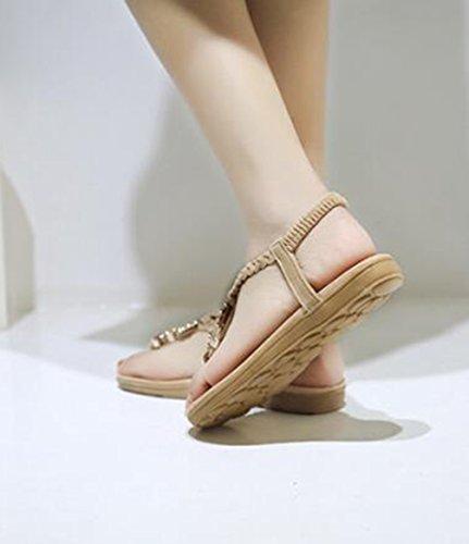 Bohème Femmes Tongs Chaussures D'été D'extérieur Plates Chaussures Sandales Décontractée Beige Plage BRqwRfE
