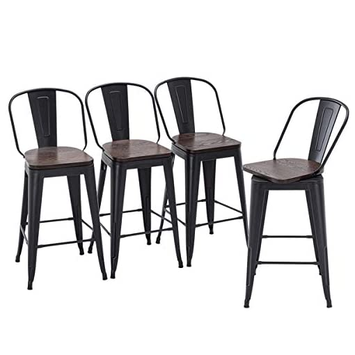 Farmhouse Barstools Yongqiang 26″ Swivel Bar Stools Set of 4 High Back Metal Counter Height Stools with Wooden Seat Industrial Bar Chairs Matte Black farmhouse barstools