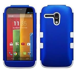 VLR Blue White Hard Soft Gel Dual Layer Cover Case for Motorola Moto G