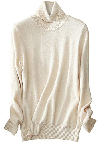 Beige Cashmere Sweater (Womens Cashmere Long Sleeve Turtleneck Basic Knit Pullover Sweater, Beige M(8) = Tag XL)