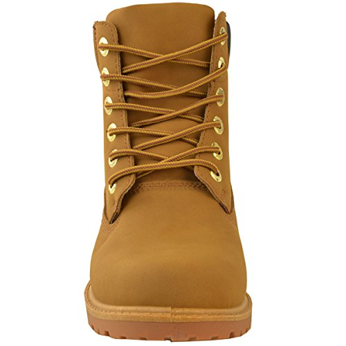 Mode Dorstige Dames Combat Legerlaarzen Military Grip Zool Lace Up Size Dark Honey Faux Nubuck