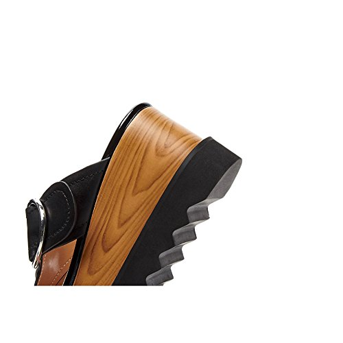 Bequem Keilabsatz Pumps Schuhe Heels Sandalen Riemchen Schnalle Black Runde Damen L1425 WSXY High Wedges KJJDE nRqaBSzwO8