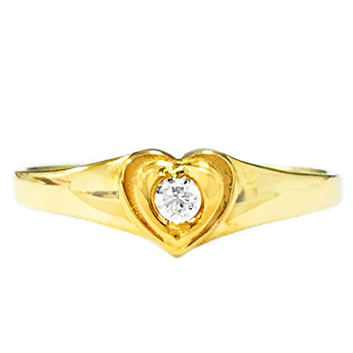 Children's 14k Yellow Gold Baby Heart Cubic Zirconia Ring Size 3.5 Kids 14k Yellow Heart