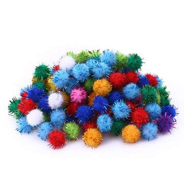 Creative 100pcs 5 Size Soft Mix Color Pompom Fluffy Plush Cloth Craft DIY Soft Ball Fur Ball Home Decor - Ornamental vases & Artificial Flowers Vase Fillers - (M) - -