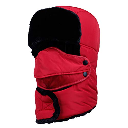 Winter Warm Men Women Windproof Thickened Bomber Hat Winter Cycling Skiing Cap Trapper Trooper Scarf,Red ()