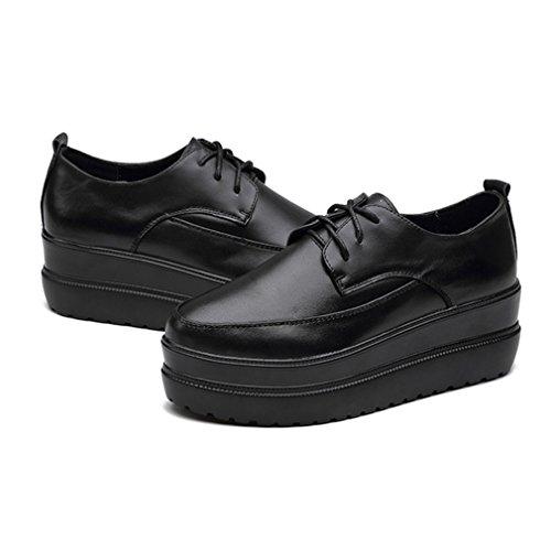 JRenok Chaussure Femme Lacets en Cuir Creepers Gothique Tête Pointue Talon Plat avec Plateforme Haute Chaussure Chaude Noir hPFZeUZGi