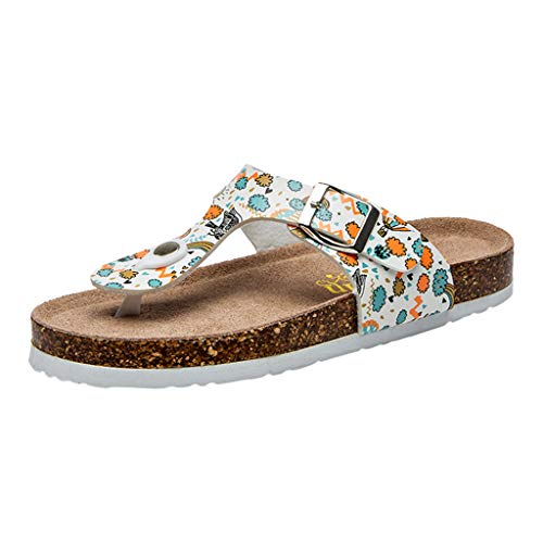 Respctful✿Women's Flip-Flops Floral Summer Wedge Flip Flops Boho Shoes Flats Casual Slippers for Beach -
