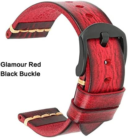 TGBZ ユニバーサル時計手作り時計バンド20ミリメートル21ミリメートル22ミリメートル23ミリメートル24ミリメートルレザー腕時計バンド (Band Color : Red Black, Band Width : 23mm)