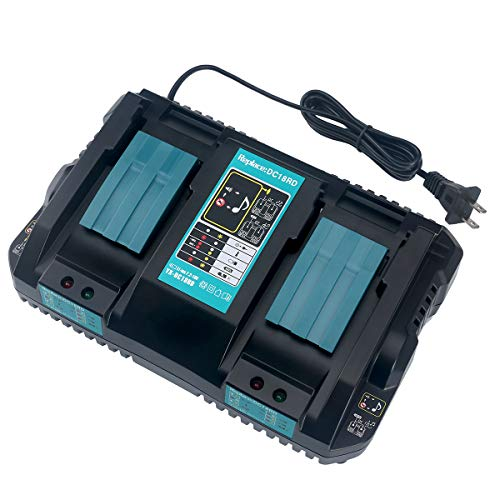 Lasica 14.4-18V Lithium-Ion Dual Port Charger DC18RD for Makita LXT 14.4-18 Volt Lithium-Ion Battery Charger DC18RC DC18RA DC18SF for BL1830 BL1840 BL1850 BL1860 BL1815 BL1430 BL1450 BL1440