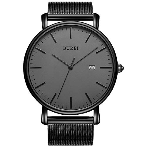 BUREI Men's Fashion Minimalist Wrist Watch Analog Deep Gray Date with Black Milanese Mesh ()