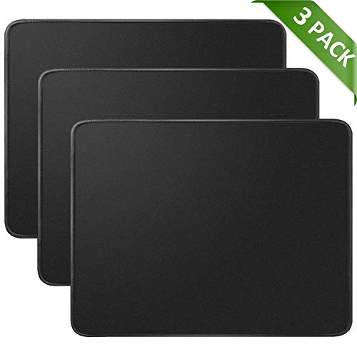 Black Computer Pad Mouse (MROCO Mouse Pads Pack with Non-Slip Rubber Base, Premium-Textured and Waterproof Mousepads bulk with Stitched Edges, Mouse Pad for Computers, Laptop, Office & Home, 11 x 8.5 inches, 3mm, 3 Pack, Black)