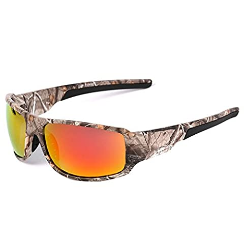 MOTELAN Polarized Camouflage Sports Sunglasses for Men's Fishing Hunting Boating Sun Glasses Red
