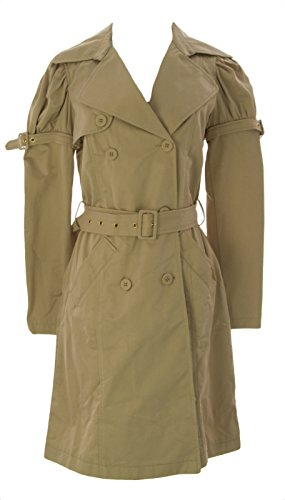 FORNARINA-Womens-Amsterdam-Long-Belted-Trench-Coat-Sz-Medium-Sand