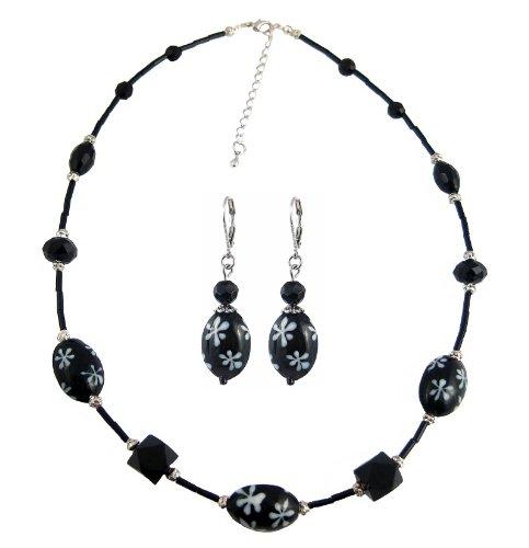 Black & White Daisy Glass Bead Necklace & Earring Set