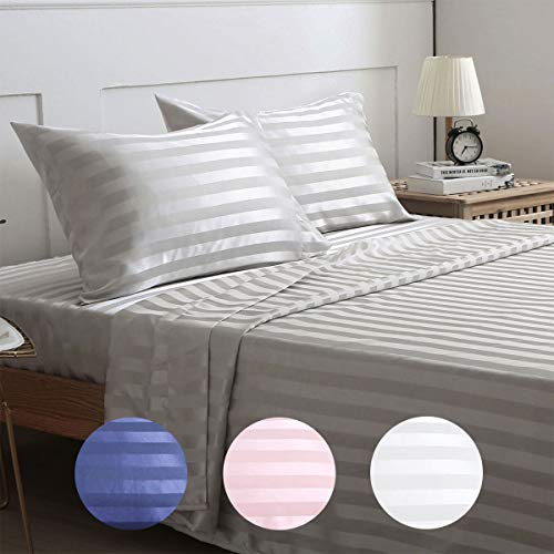 Treely Silky Satin Sheet Set Super Soft Striped Bed Queen Sheet Set with Deep Pocket Fitted Sheet, Flat Sheet, Pillow Cases(4-Pieces, Gray)