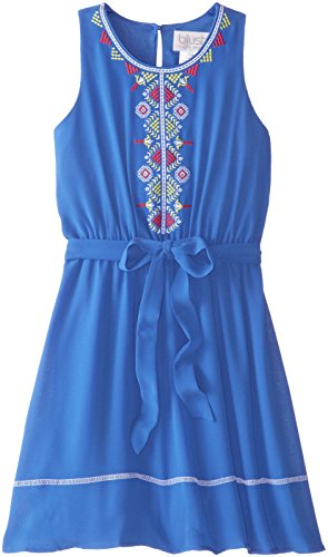 Blush by Us Angels Big Girls' Sleeveless Dress with Embroidery, Ocean Blue, 12