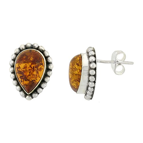 Sterling Silver Pear-shaped Earrings, 12 x 8 mm Cabochon Cut Russian Baltic Amber Stone, 5/8 inch tall (Sterling Silver Amber Cabochon Earrings)