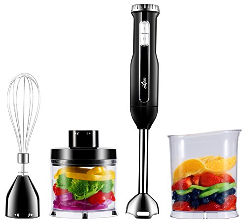Litchi Powerful 4-In-1 Hand Blender Set, 300W Immersion Hand Blender Set with Stick Blender Shaft & Blades, Whisk, Mini Chopper, Blending Beaker, Black
