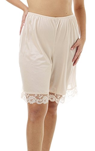 (Underworks Pettipants Nylon Culotte Slip Bloomers Split Skirt 9-inch Inseam Medium-Beige)
