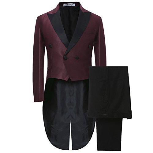 Mariage Habit Vin Rouge Tuxedo Morue Allthemen Party Cérémonie Queue De À Homme Costume nxwP7A8qUY