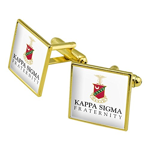 Graphics and More Kappa Sigma Fraternity Logo Officially Licensed Square Cufflink Set Gold Color