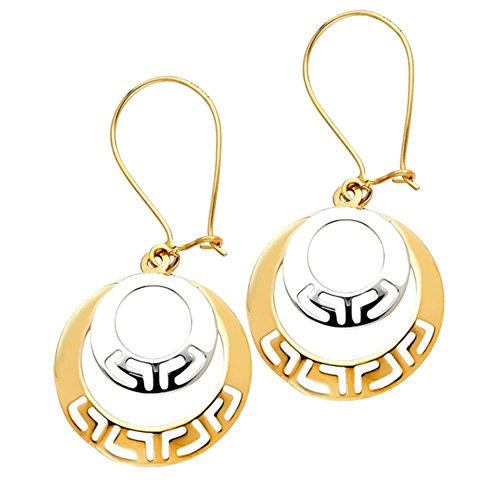 Balluccitoosi Fancy Two Tone Circle Hanging Earrings- 14k Gold Earring for Women and Girls - Diamond cut Unique Jewelry for Everyday by Ballucci&Toosi Goldsmith