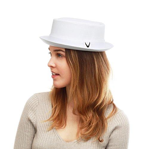 - THE HAT DEPOT Black Horn Cotton Plain Pork Pie Hat (Medium, White)